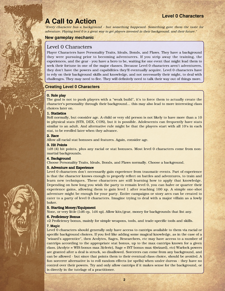 Level 0 Characters : A 5e mechanic and adventure for playing